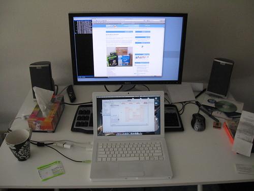computer desk closeup