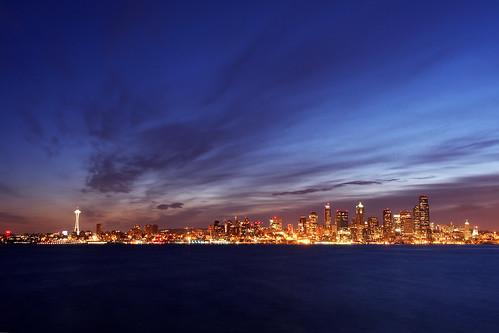 seattle skyline night sunrise dawn washington cityscape alki spaceneedle pugetsound elliottbay davidhogan