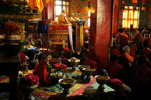 Vajrayogini Front Facing Shrine Mandala Offering, His Holiness Jigdal Dagchen Sakya leading the empowerment into practice, Tharlam Monastery, Boudha, Kathmandu, Nepal by Wonderlane