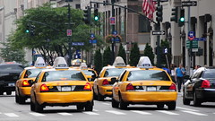 taxi, automobile, traffic, vehicle, lane, downtown, traffic congestion, pedestrian,