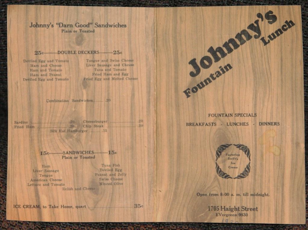 Johnny's 1938 Menu - Side 1 | Johnny's - 1938 Menu - 1705 Ha