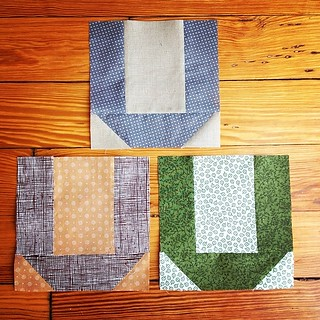 Three blocks for Hettie's Hobo Signs quilt.