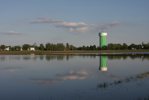 reflection tower water field flooding watertower iowa jefferson jeffersoniowa