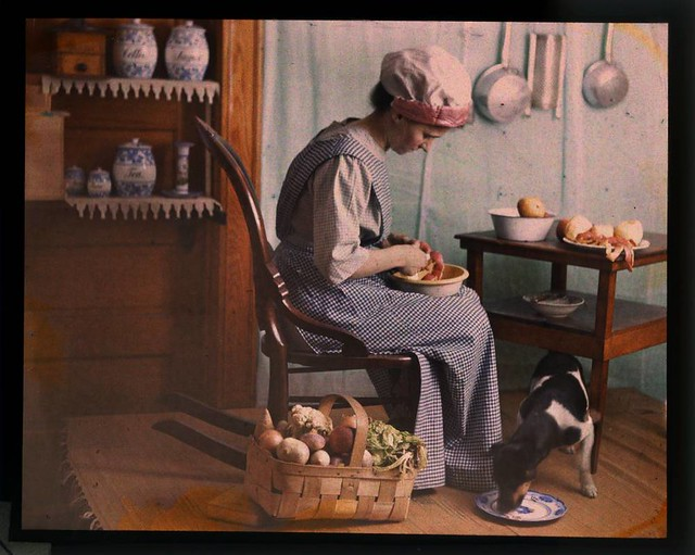 Genre scene, woman in kitchen peeling vegetables