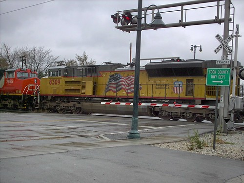 A Union Pacific unit in the locomotive consist. CN transfer train. La Grange Park Illinois. November 2007. by Eddie from Chicago