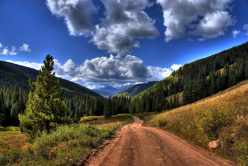 road blue trees sky mountain green nature clouds landscape colorado pass explore dirt hdr shrinepass mountoftheholycross photomatix 200809