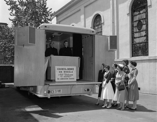 Catholic trailer, church on wheels