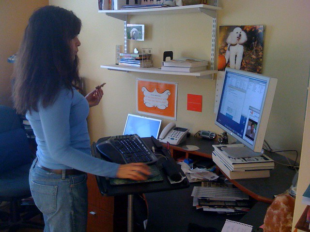 Christine at her stand-up desk