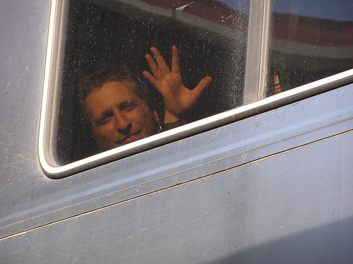 Robert waving goodbye