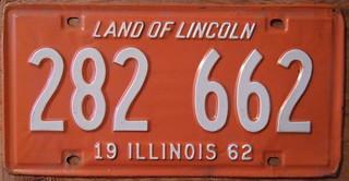 ILLINOIS 1962 LICENSE PLATE 282-662