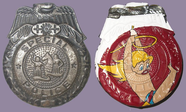 Old Toy Police Badge- Front & Back