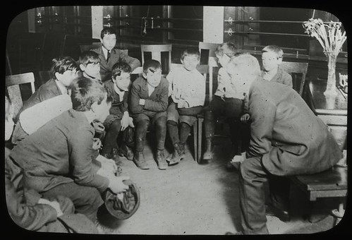 Work with schools, Aguilar Branch : Italian boys listening t...