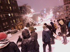 Sledding down Denny Way