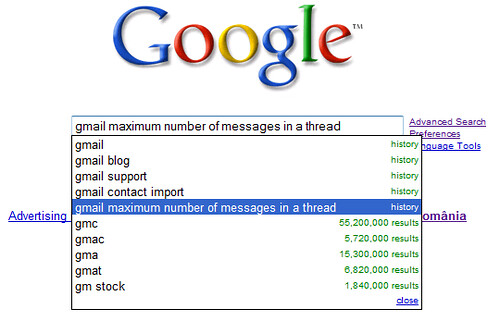 Google Search Suggestions with History