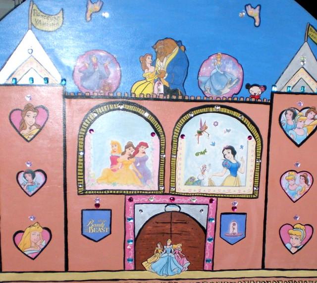 Tete de lit chateau disney princesse belle aurore blanche neige clochette puc - Lit princesse 90x190 ...