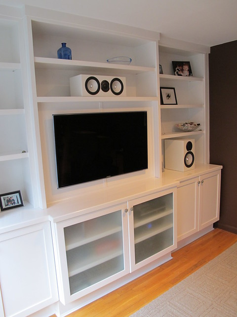 wall unit with flat screen tv designed and built by new