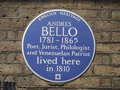 Photo of Andrés Bello blue plaque