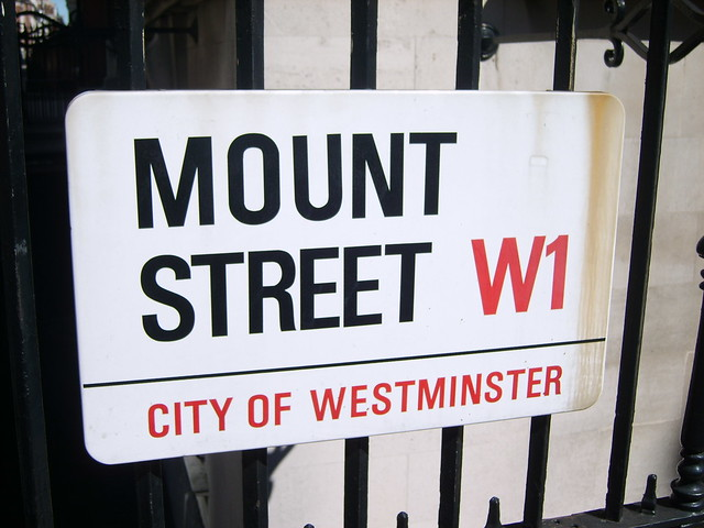 Mount Street sign in Mayfair, London