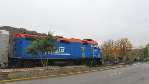 Westbound Metra commuter train crossing Grand Avenue. Elmwood Park Illinois. October 2008. by Eddie from Chicago