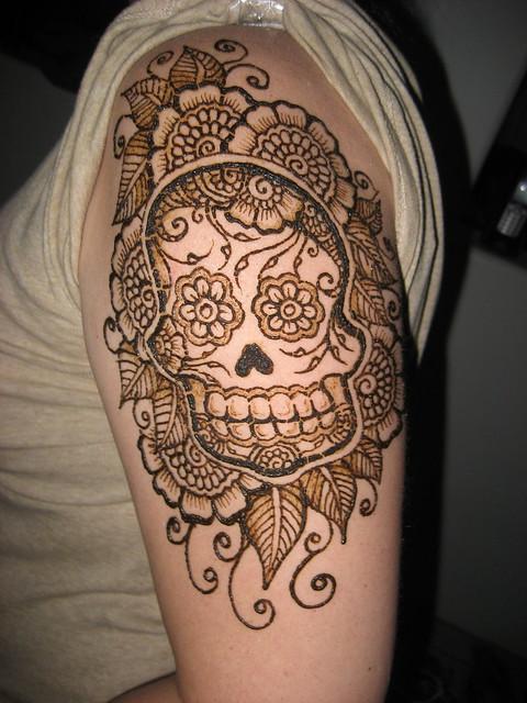 Sugar Skull quarter sleeve in henna!