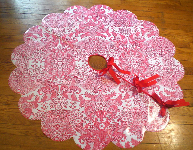 red lace tree skirt