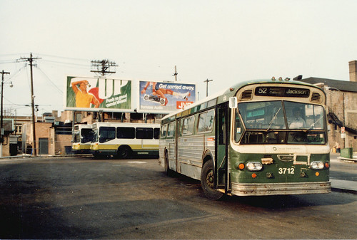 New and old at the CTA West 63rd Place bus terminal. March 1986. by Eddie from Chicago