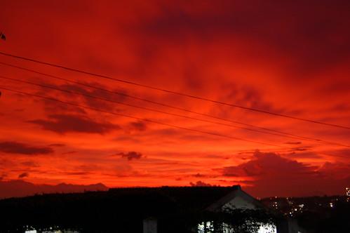 sunset sky orange cloud