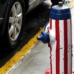Stars and Stripes Fire Hydrant, Greenwich Village, New York City, New York, United States of America