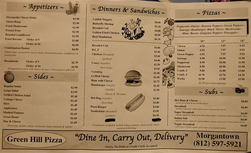 Green Hill Drive In Menu