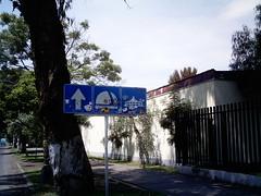 Vandalized traffic sign