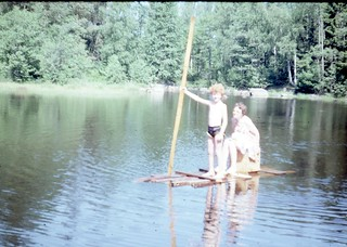 Mom and I on a raft - not very safe