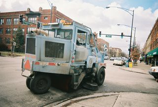 City of Chicago Department of Streets and Sanitation street sweeper vechicle heading westbound on Montrose Avenue. Chicago Illinois. January 2006. by Eddie from Chicago