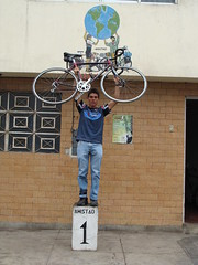 Lucho posing in front of the Casa de Ciclistas