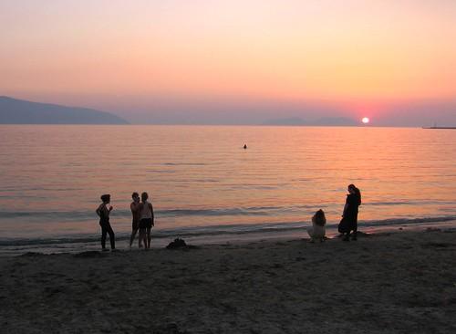 sunset sea summer people landscape albania vlora vlore