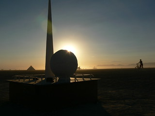 trylon and perisphere at sunrise