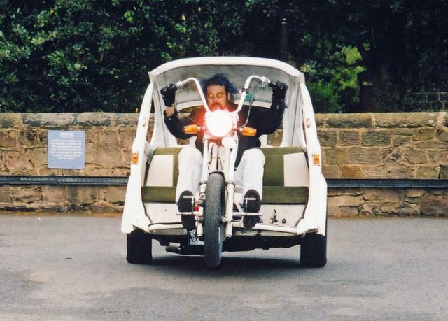 VW Beetle Trike, White, Pulling a Wheelie
