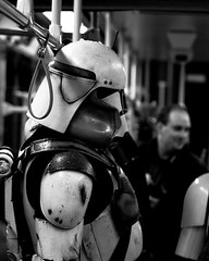 Troopers squeeze onto public transporation.