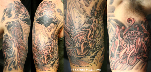 koi dragon custom tattooing by kevin riley more at. Black Bedroom Furniture Sets. Home Design Ideas