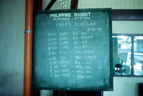 The Philippine Rabbit timetable at the bus station at Alaminos, Pangasinan, Philippines.