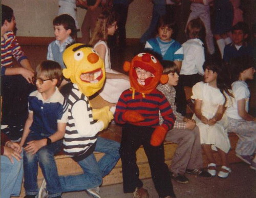 Dewey in a school program at Beaser, May 1985.