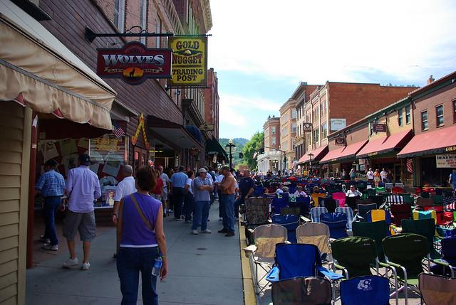 Lawn chairs set up for Kool Deadwood Night performance, Deadwood, South Dakota, August 25, 2007