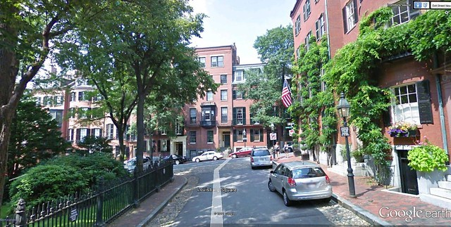 Louisburg Square neighborhood, Boston (via Google Earth)