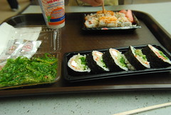 Mall sushi and wakame salad