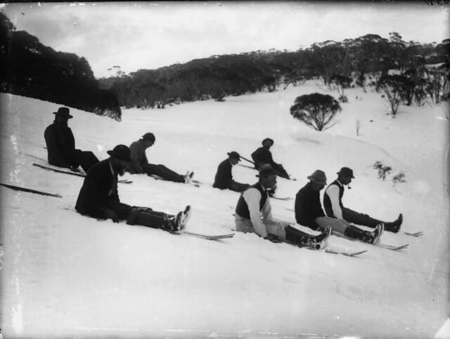 Tobogganing on snow shoes