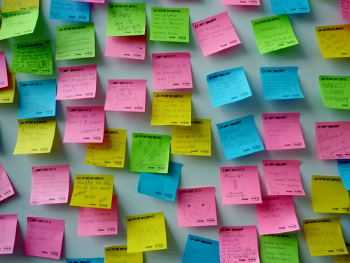 Picture of coloured post it or sticky notes