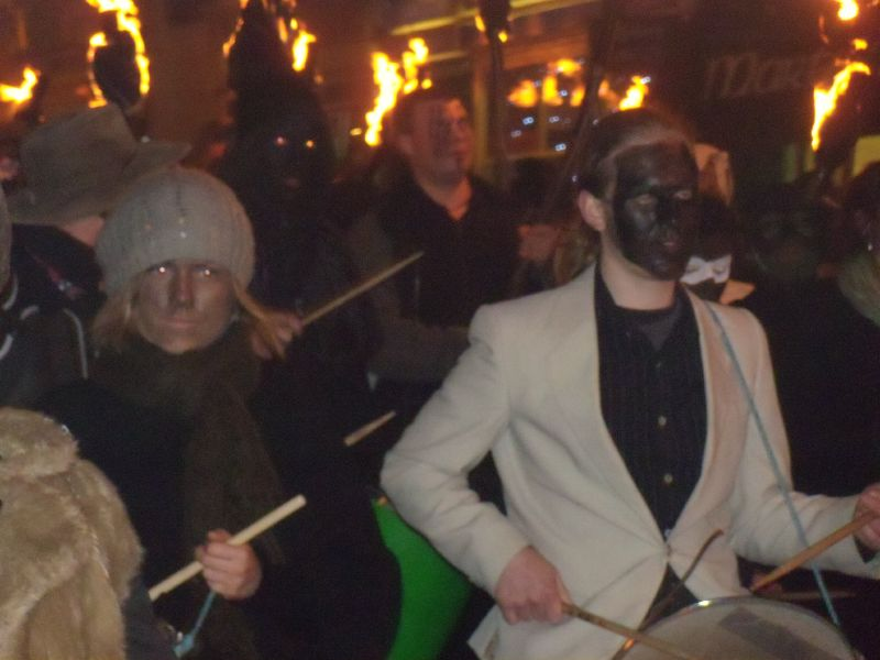 drummers The Battle bonfire march. Robertsbridge to Battle walk