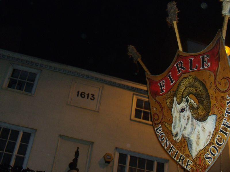 Firle banner Lewes circular via Rodmell Lewes bonfire night