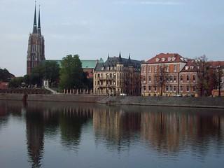 río Oder y la Catedral, Wrocław