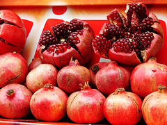pomegranate, red, produce, fruit, food,
