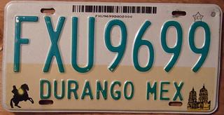 MEXICO, DURANGO STATE, c.1998 LICENSE PLATE
